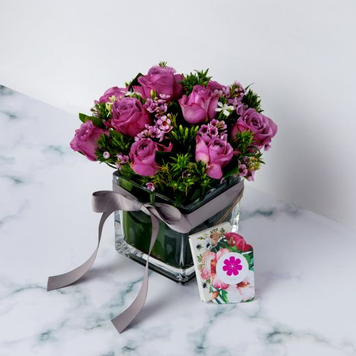 MIXED PURPLE ROSES WITH VASE