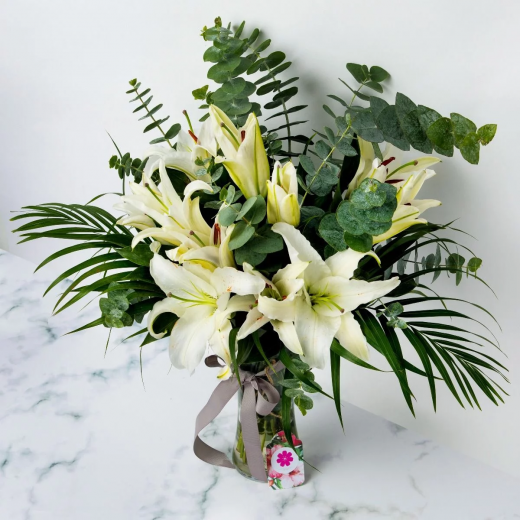 WHITE LILIES WITH VASE