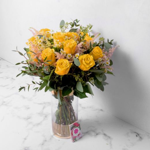 YELLOW ROSES WITH VASE