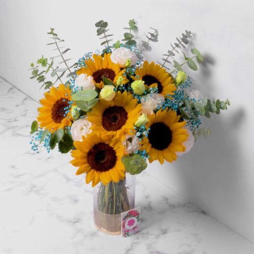 MIXED SUNFLOWER AND BABY BREATH WITH VASE FOR VALENTINE'S DAY