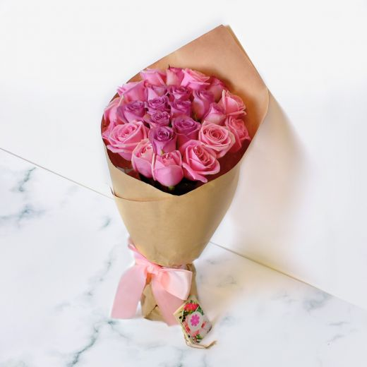 PINK & PURPLE ROSES BOUQUET